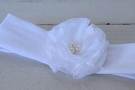 Bandeau bébé blanc pour baptême Fleur Pivoine