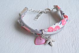 Bracelet enfant fillette tissu liberty wiltshire corail breloque étoile de mer coeur nacrée - idée cadeau anniversaire noël