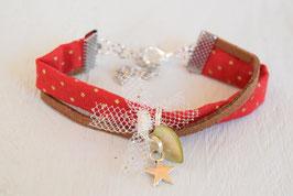 Bracelet enfant Noël - Tissu rouge or bronze et breloque étoile