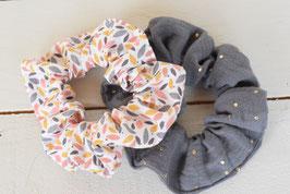 Chouchou cheveux en tissu - Lot de 2 : double gaze gris à pois doré + motif feuilles