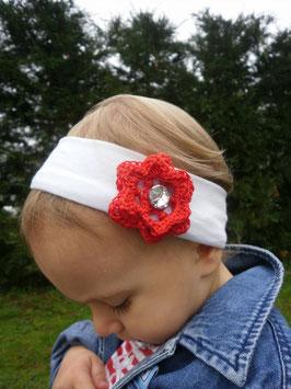bandeau bébé fleur rouge au crochet avec strass pour Noel