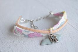 Bracelet enfant fillette tissu libert betsy rose breloque Nuage LoVe- idée cadeau anniversaire noël fille bijou