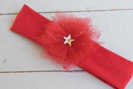 bandeau bébé fille noël rouge fleur tulle poussières d'étoiles