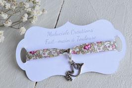 Bracelet liberty Eloïse rose colombe argenté pour baptême, communion, confirmation