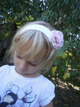 Bandeau fleur bébé fille enfant blanc fleur boule rose et blanche, idéal pour baptême, cérémonie, mariage