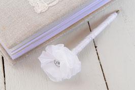 Stylo livre d'or fleur blanche & strass pour mariage baptême cérémonie