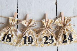 Calendrier de l'avent Noël réutilisable en tissu géométrique doré et noir jute