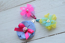 Barrette fleur organza ou jeans pour enfant fille / pince cheveux clic-clac rose fluo bleu turquoise pince cheveux clic-clac maman fille
