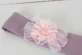Bandeau bébé fille mauve-grisé et fleur dentelle rose poudré