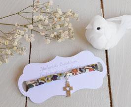 Bracelet liberty whiltsire vert croix argenté pour baptême, communion, confirmation