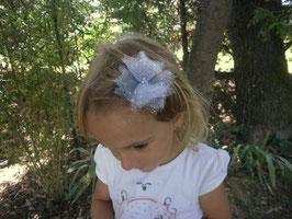 Blanche grise paillettes argentées-Barrette pour la maman, femme, petite fille- cérémonie baptême