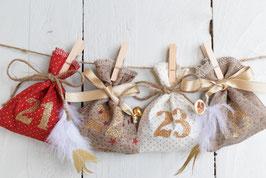 Calendrier de l'avent Noël réutilisable - Déco noël champêtre traditionnel  sachet tissu rouge blanc doré jute étoile paillette