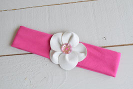 Bandeau bébé fille rose fuchsia et fleur en similicuir blanc strass rose