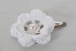 Barrette fleur crochet bohème blanche pour femme enfant mariage baptême