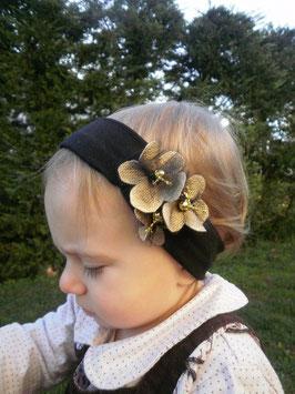 Bandeau bébé noël trio de fleurs dorées noir