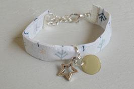 Bracelet enfant fillette tissu noël blanc hiver breloque étoile beige- idée cadeau anniversaire noël fille bijou artisanal