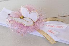 Bandeau baptême bébé enfant fille blanc rose doré pour baptême, mariage/ papillon à personnaliser avec prénom /date baptême