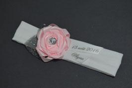 Bandeau bébé fille à personnaliser avec prénom date cérémonie blanc rose pour baptême mariage fleur rose en ruban