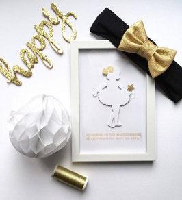 Bandeau bébé noeud similicuir doré pour fêtes de fin d'année - noël - baptême
