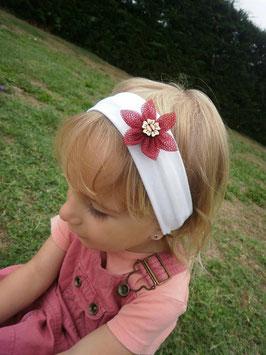 Bandeau bébé fille petite fleur Hawaï bordeaux