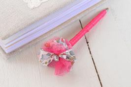Stylo livre d'or fleur liberty betsy porcelaine rose fuchsia & strass pour mariage baptême