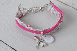 Bracelet enfant liberty Eloïse rose/fuchsia breloque libellule et goutte nacrée - idée cadeau anniversaire noël