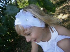 Bandeau bébé enfant fille blanc pour baptême cérémonie mariage fleur tulle, plume, perles