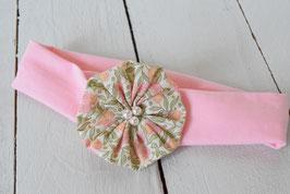 Bandeau bébé fille fleur vintage rose et vert