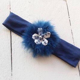 Bandeau bébé noël fourrure bleue marine fleur argenté