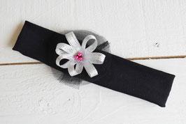Bandeau bébé fille noir fleur ruban argenté fêtes de fin d'année noël