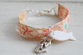 Bracelet enfant fillette Sirène poisson tissu liberty étoile - idée cadeau anniversaire noël