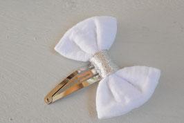 Barrette noeud double gaze blanc et argenté baptême communion