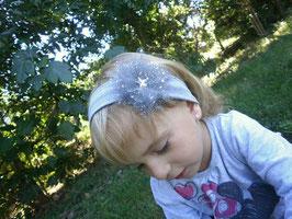 Bandeau bébé enfant baptême fille étoile argentée gris paillettes headband coton gris chiné tulle brillant