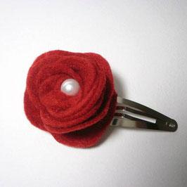Barrette cheveux fleur rouge pour femme enfant idéal noël mariage baptême