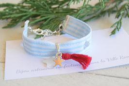 Bracelet enfant fillette tissu rayé marin bleu blanc pompon rouge étoile coeur argenté idée cadeau anniversaire noël enfant bijou artisanal