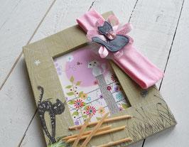 bandeau bébé fille Le Chat gris bandeau coton rose clair