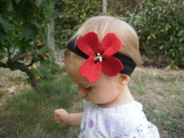 Bandeau bébé fleur coquelicot