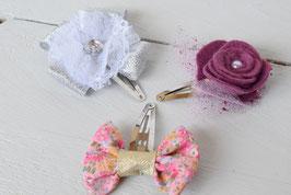 Barrettes cheveux noeud - fleur feutrine prune - fleur argenté dentelle