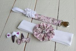Ensemble cadeau naissance bébé fille Liberty Misty bandeau + attache tétine prénom + 2 minis barrettes