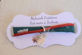 Bracelet enfant Noël - Tissu vert sapin rouge - Breloques étoile
