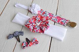 Ensemble cadeau naissance bébé fille  Liberty of London Wiltshire rouge + attache tétine prénom + 2 minis barrettes