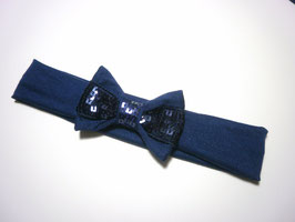 Bandeau bébé noeud paillette sequin bleu marine fêtes noël