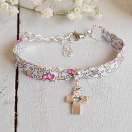 Bracelet liberty Eloïse rose  croix argenté pour baptême, communion, confirmation