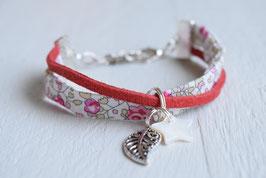 Bracelet enfant fillette tissu liberty Eloïse breloque étoile feuille - idée cadeau anniversaire noël