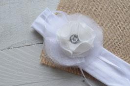 Bandeau bébé baptême fille blanc pour baptême mariage cérémonie fleur blanche en organza et mousseline strass