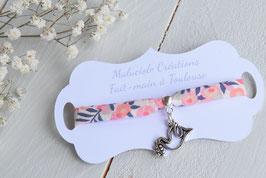 Bracelet liberty Wiltshire corail colombe argenté pour baptême, communion, confirmation