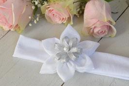 bandeau bébé fleur blanche et argenté pour baptême bébé cérémonie mariage fêtes
