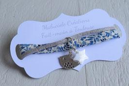 Bracelet enfant fillette tissu liberty katie and millie breloque oiseau et étoile nacrée - idée cadeau anniversaire noël
