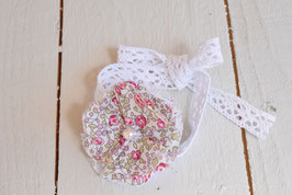 Bracelet femme ou enfant dentelle fleur liberty Eloise rose