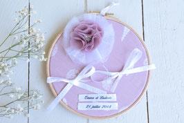 Porte alliance personnalisé rose poudré mariage champêtre vintage bohème tambour bois
